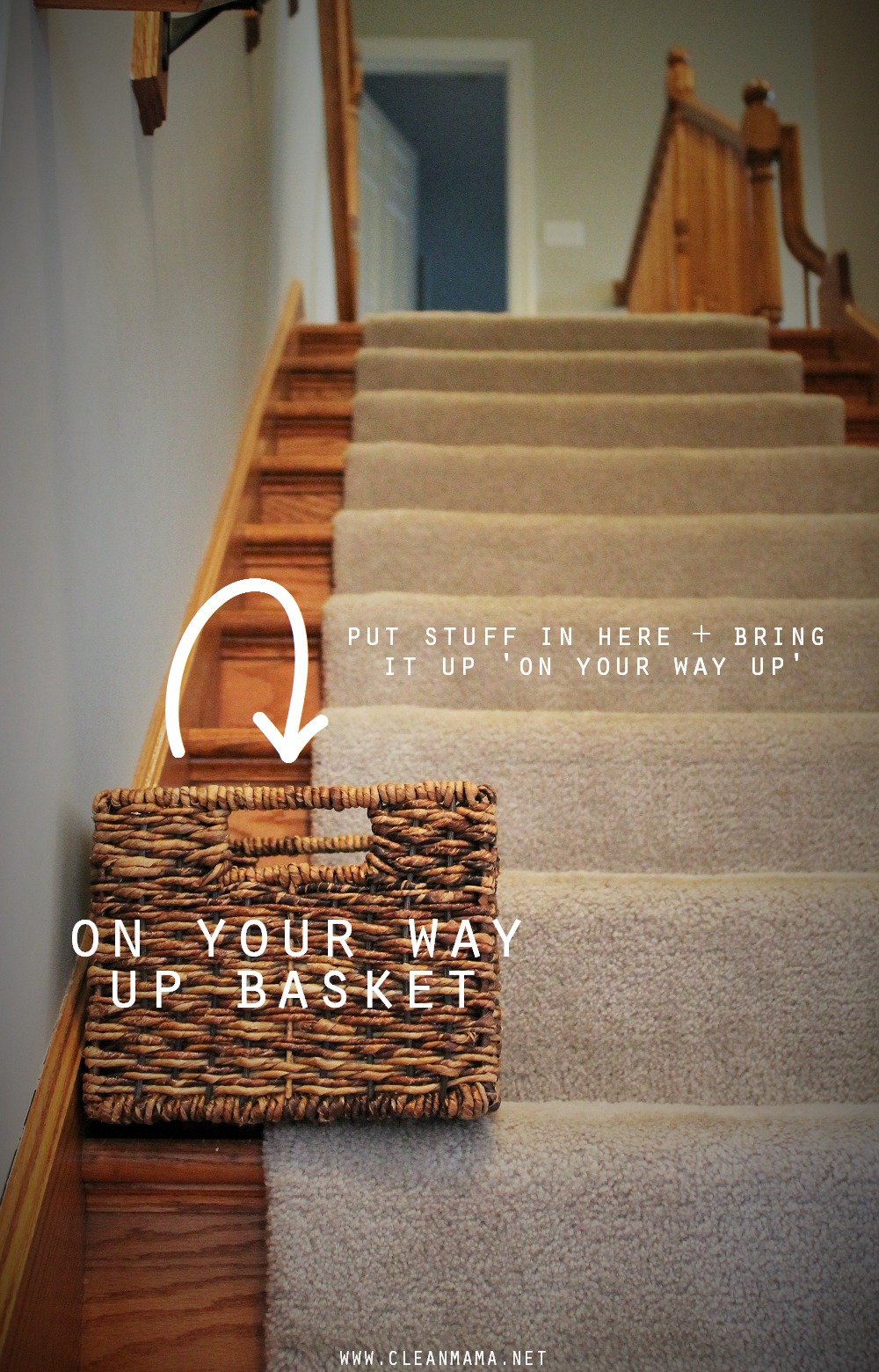 Put Stuff In Here and Bring It Up 'On Your Way Up' via Clean Mama