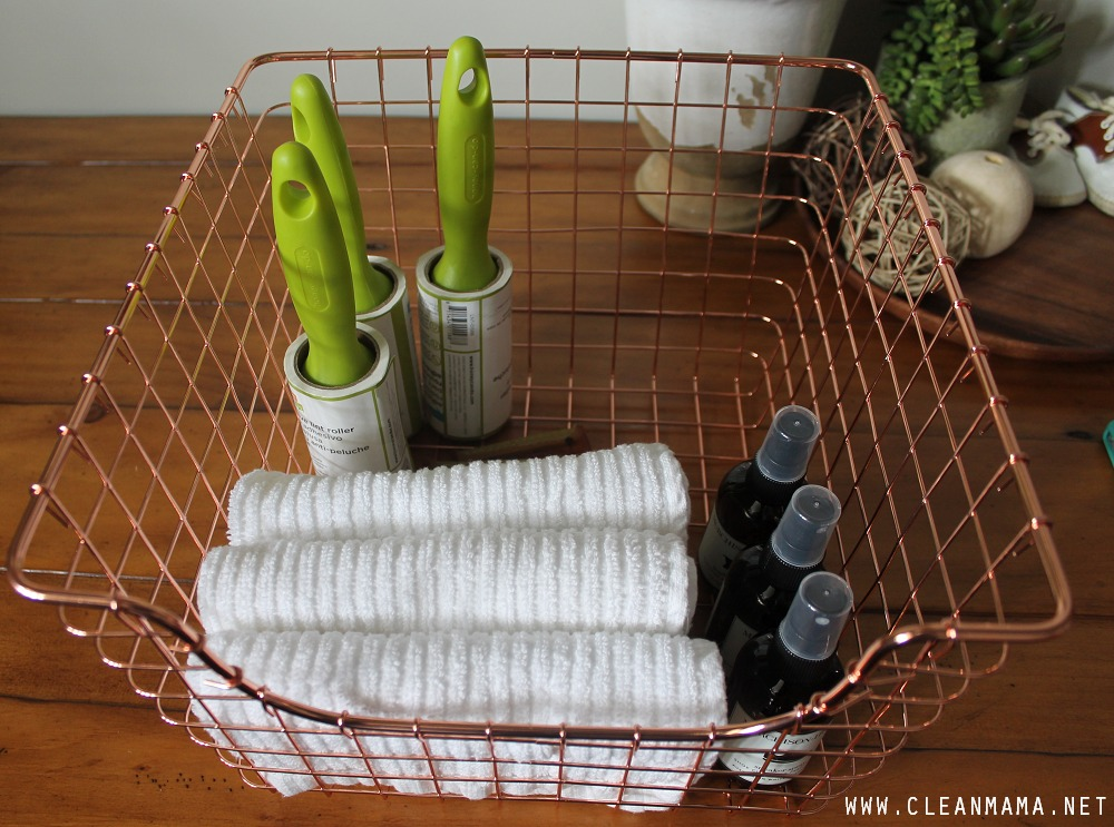 Put Together a Basket with Fabric and Shoe Care Items via Clean Mama
