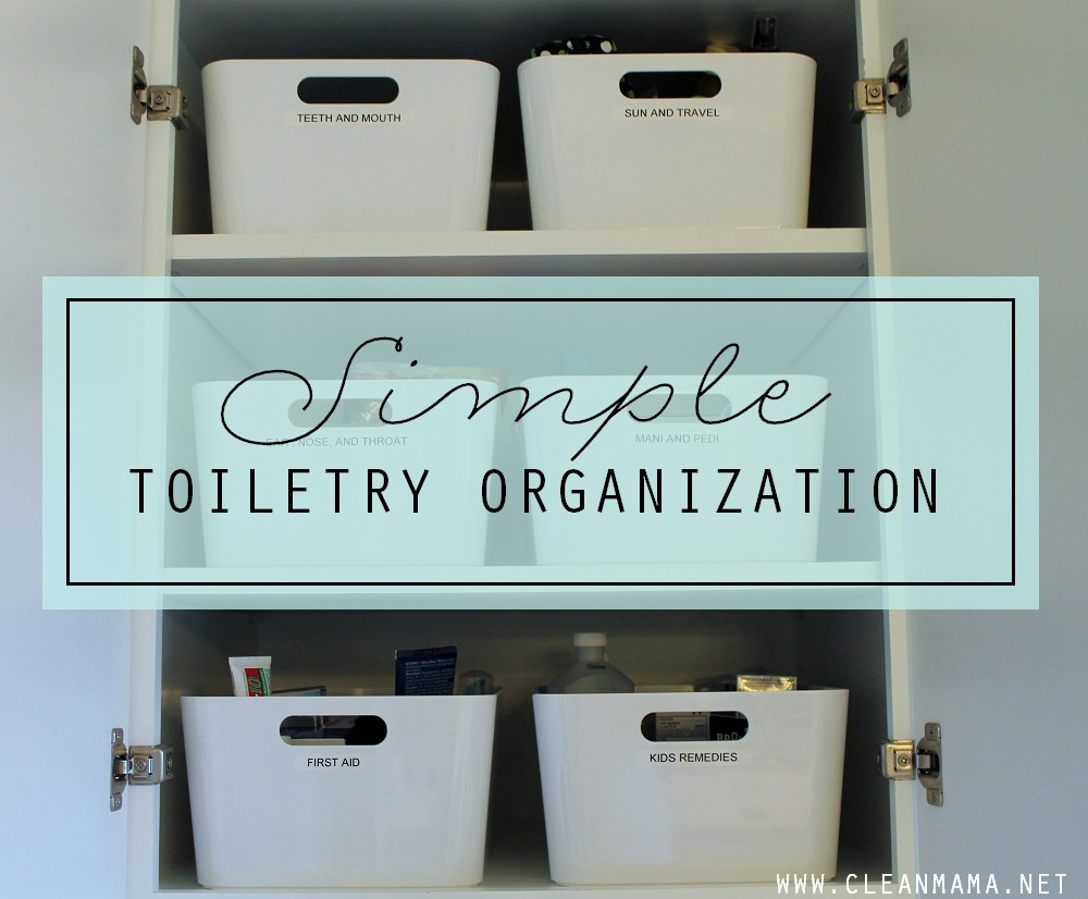 Simple Toiletry Organization with Dymo via Clean Mama
