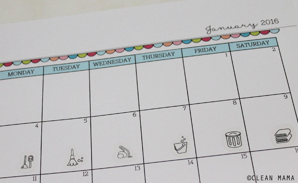 Cleaning Routine Stickers in Calendar - Clean Mama