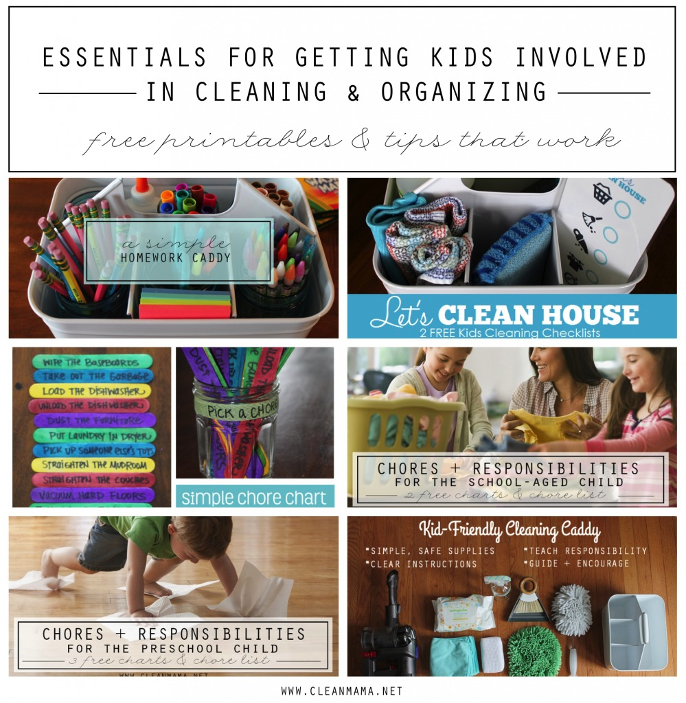 Essentials for Getting the Kids Involved In Cleaning - free printables and tips that work! - Clean Mama