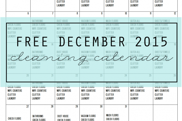 Free Cleaning Calendar for December 2015