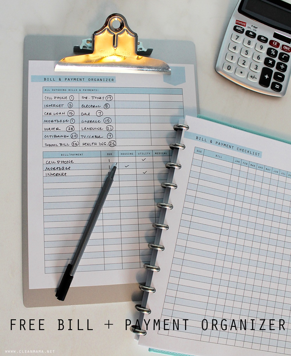 Free Printable Bill + Payment Organizer via Clean Mama
