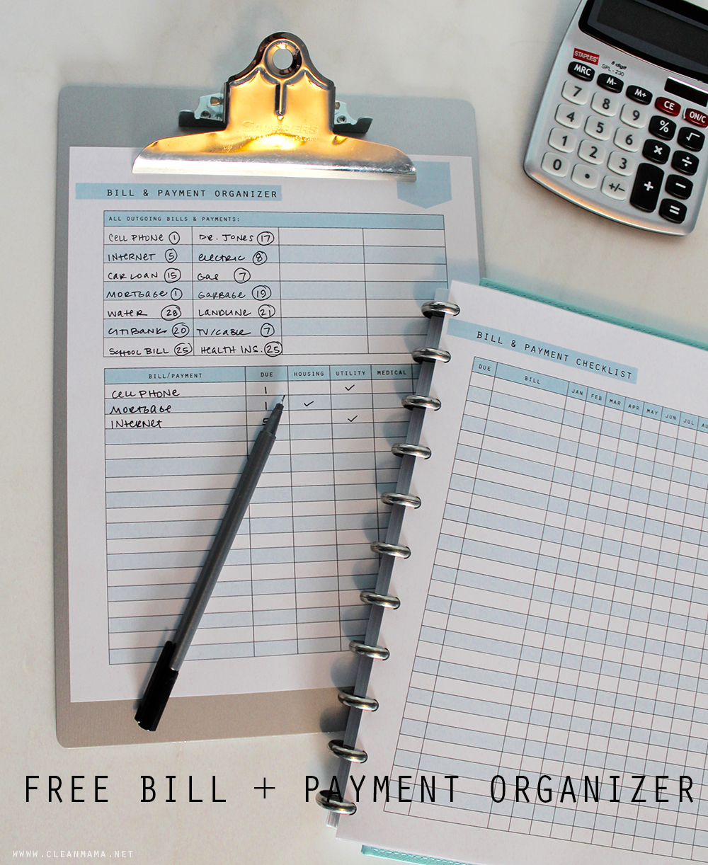 Free Printable Bill + Payment Organizer via Clean Mama