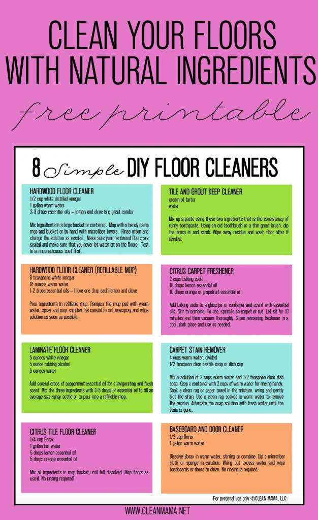 Elegant 8 Simple DIY Floor Cleaners   Free Printable   Clean Mama