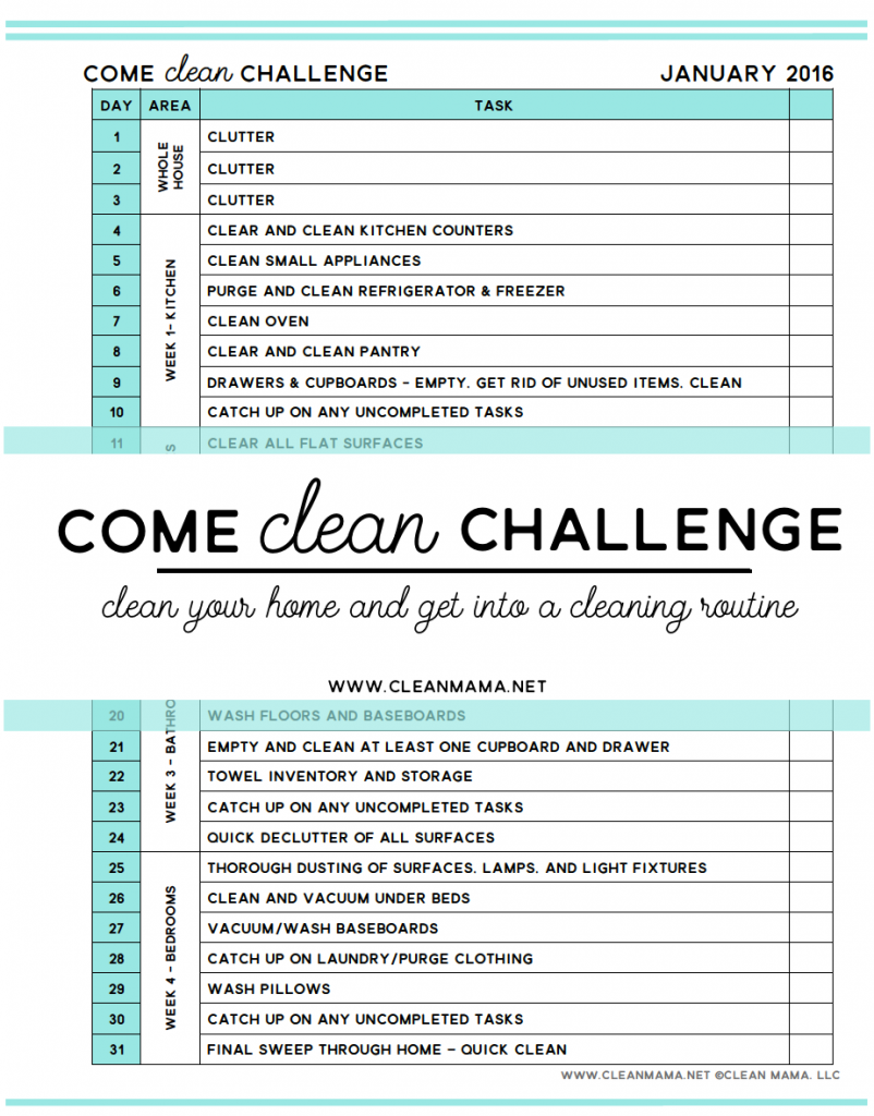 Come Clean Challenge - Clean Your Home and Get Into a Cleaning Routine - Clean Mama