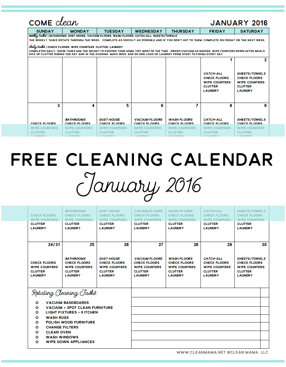 Free Cleaning Calendar - January 2016 - Clean Mama
