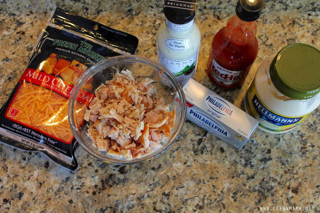Ingredients for Buffalo Chicken Ranch Dip - Clean Mama