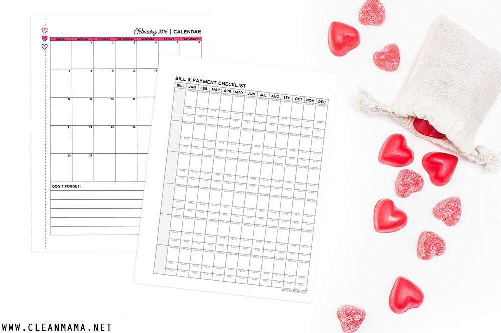 Calendar + Checklist - February 2016 Homekeeping Society - Clean Mama