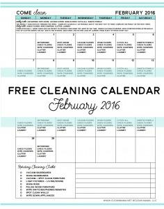 February 2016 Free Cleaning Calendar - Clean Mama