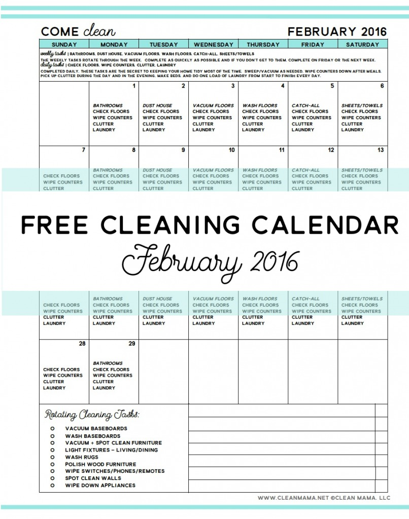 February 2016 Free Cleaning Calendar - Clean Mama