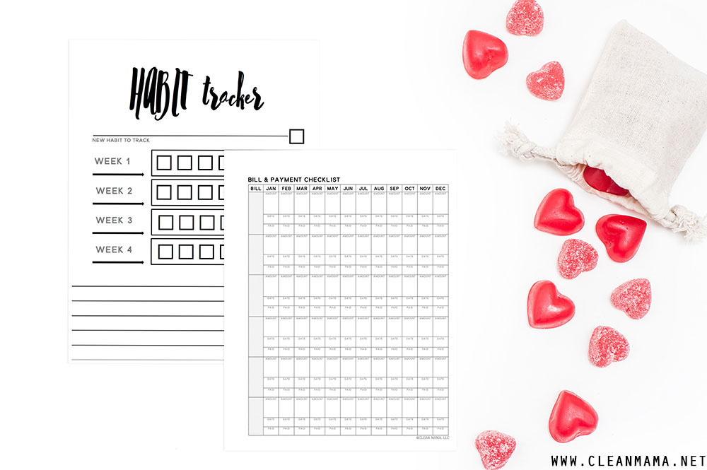Habit Tracker and Bill and Payment Checklist - February Homekeeping Society - Clean Mama