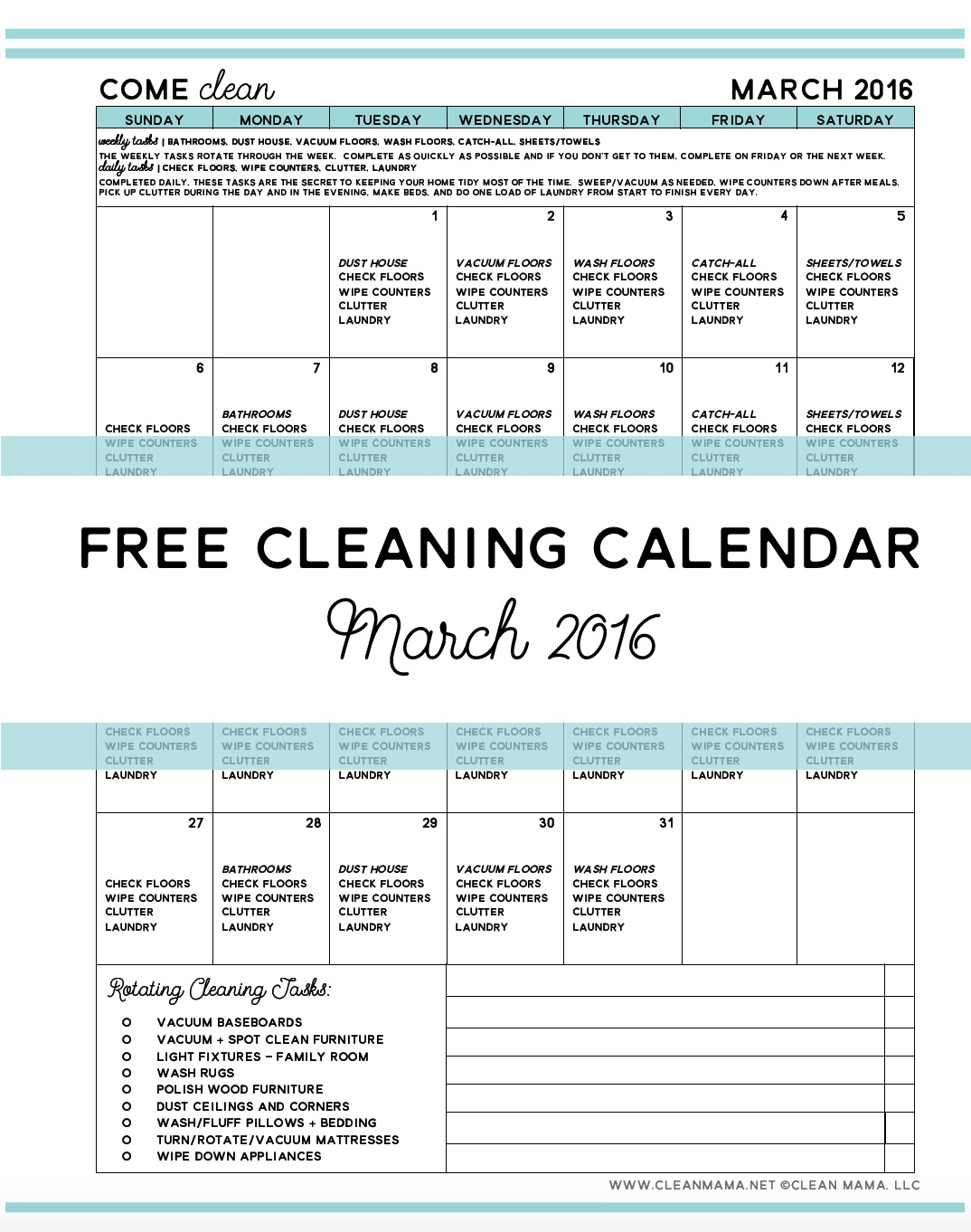 FREE Cleaning Calendar for March 2016 via Clean Mama