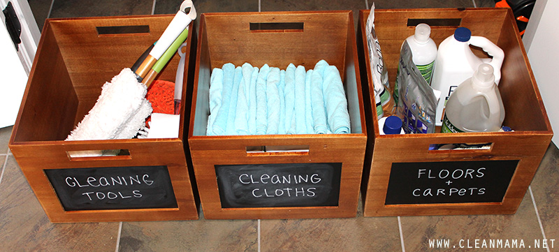 Cleaning Closet Boxes - Clean Mama