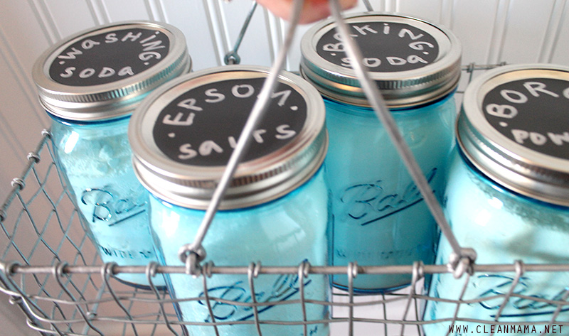 DIY Cleaners Ingredient Storage in basket - Clean Mama