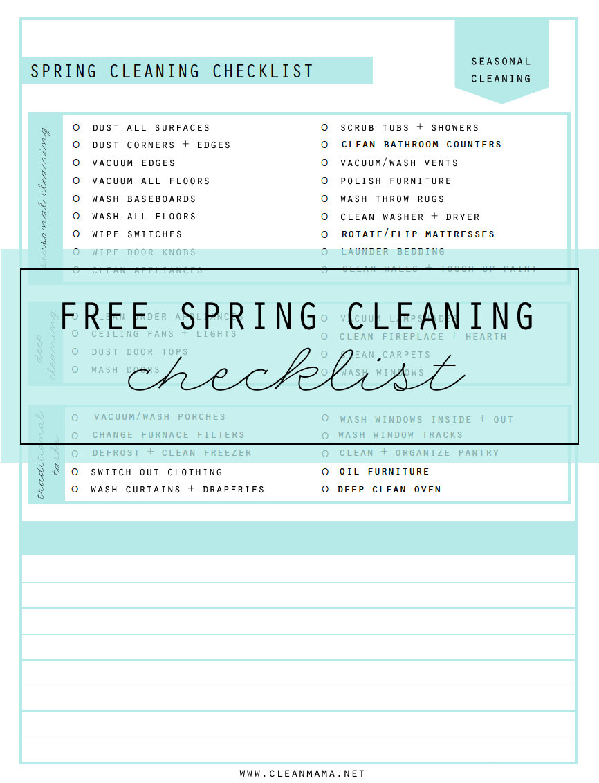 FREE Spring Cleaning Checklist - Clean Mama
