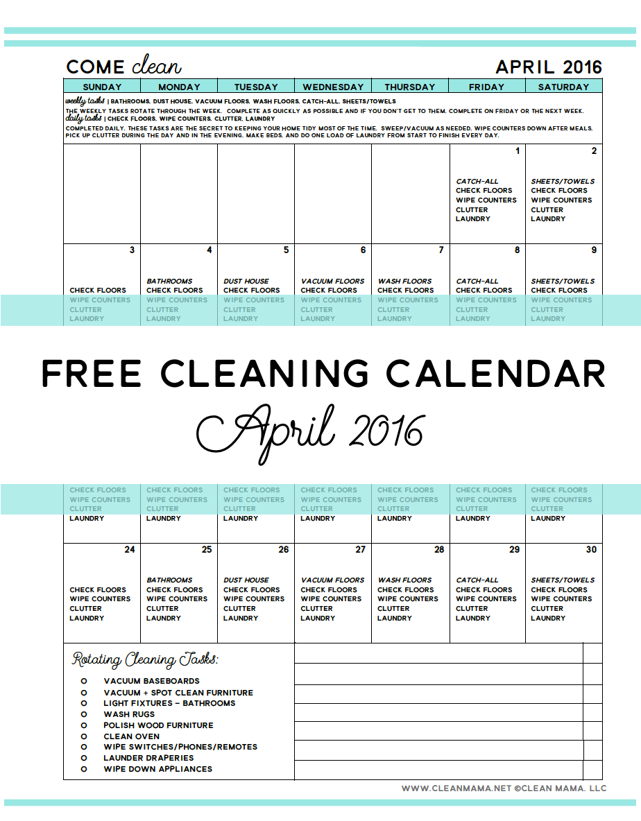 Free Printable April Cleaning Calendar - Clean Mama