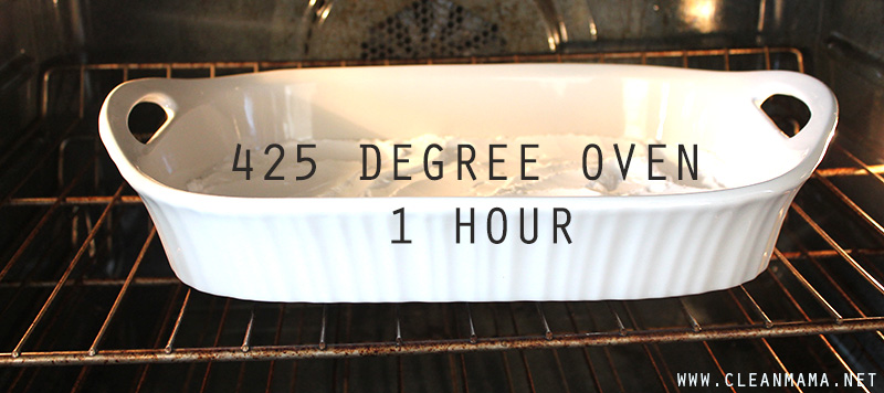 Place in 425 degree oven for 1 hour - Clean Mama
