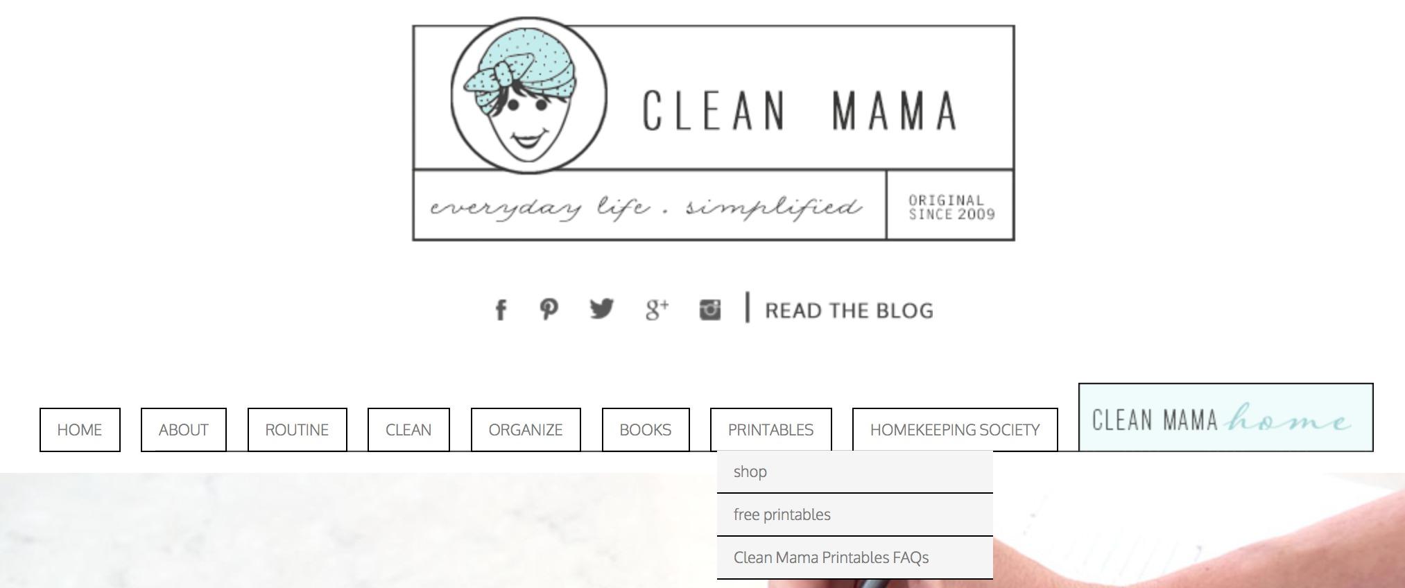 Clean Mama Free Printables Tab