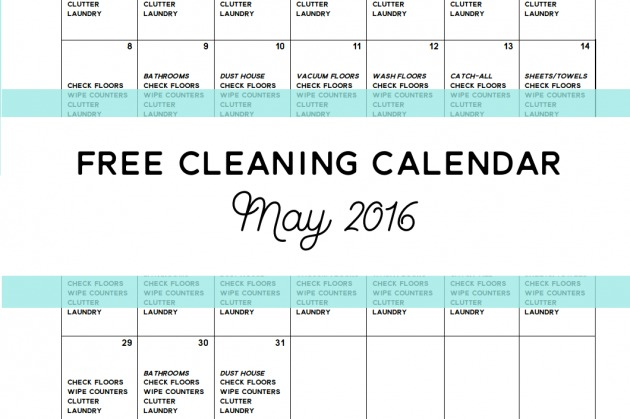 Come Clean – Free Cleaning Calendar for May 2016