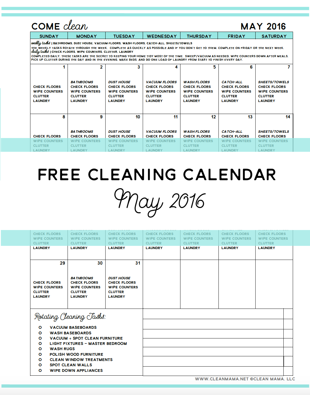 Come Clean Free Cleaning Calendar For May 2016 Clean Mama