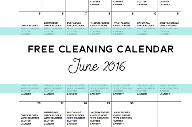 Come Clean – Free Cleaning Calendar for June 2016
