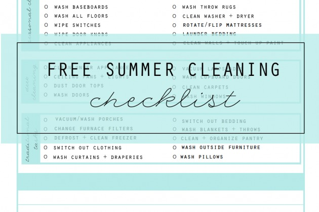 FREE Summer Cleaning Checklist