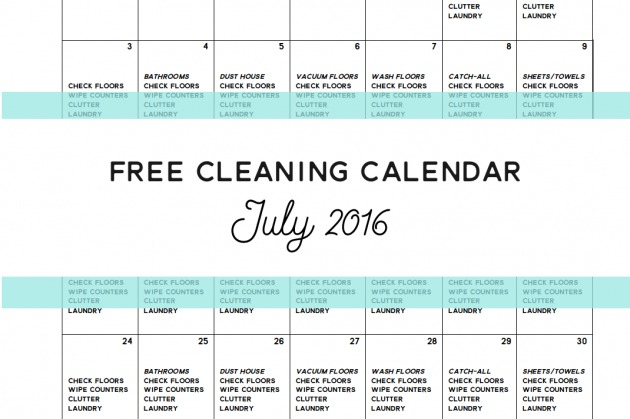 Come Clean – Free Cleaning Calendar for July 2016