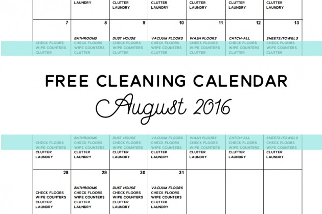 Come Clean – Free Cleaning Calendar for August 2016