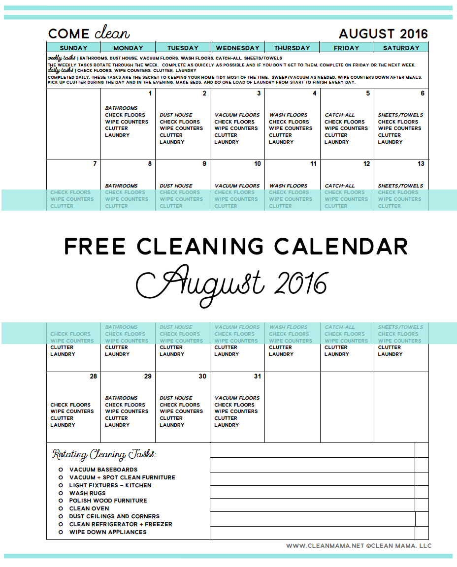 Come Clean (main) August 2016 - Free Cleaning Calendar - Clean Mama