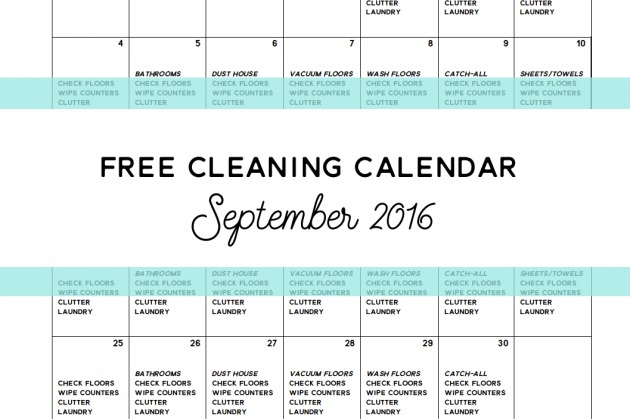 Come Clean – FREE Cleaning Calendar for September 2016