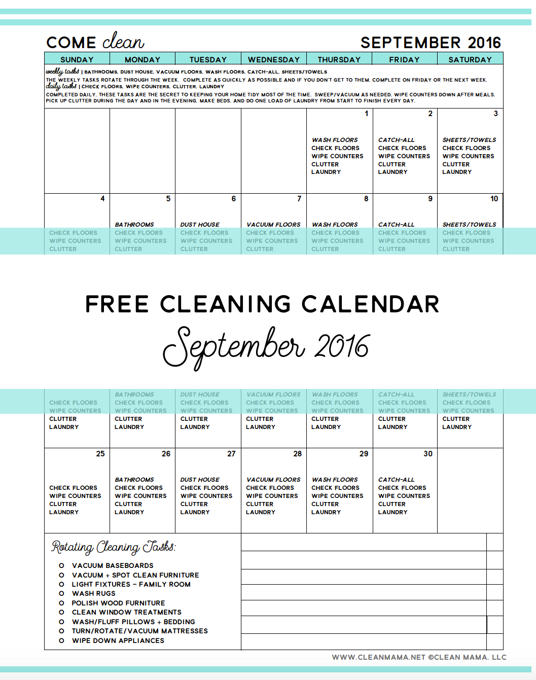 Free Cleaning Calendar - September 2016 - Clean Mama