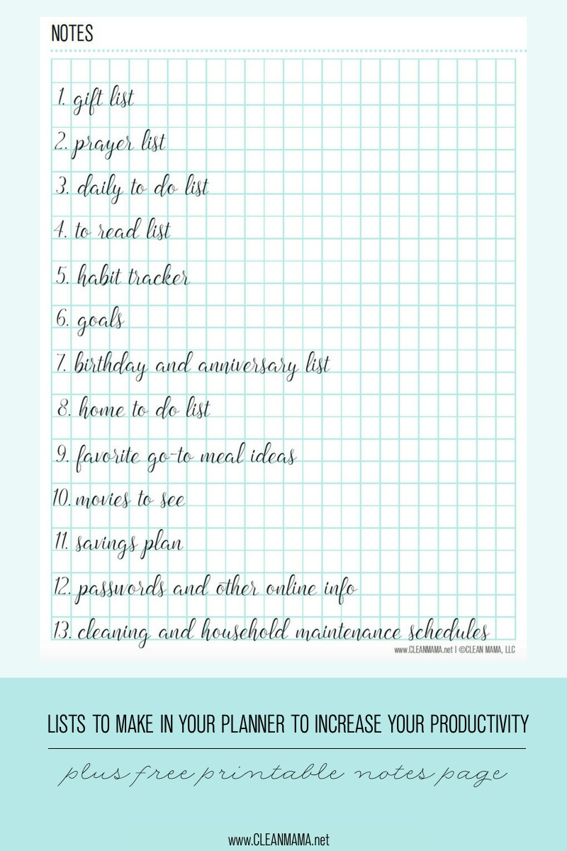 Lists to make in your planner free notes page clean mama for Make a planner online free