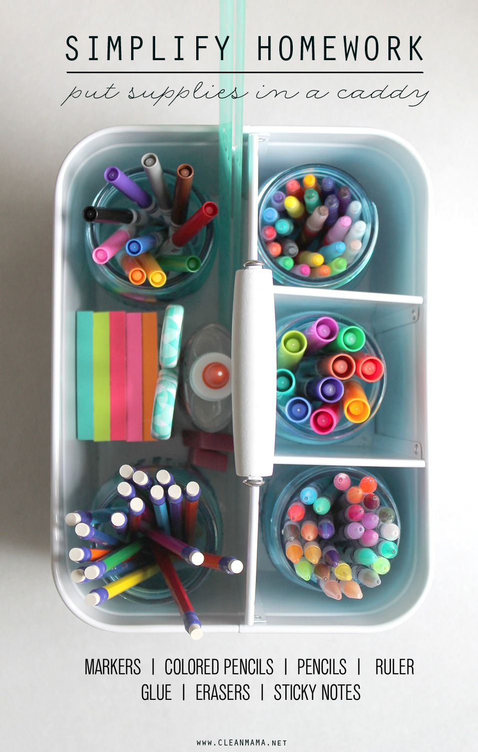 Simplify + Organize Homework - Put Supplies in a Caddy - Clean Mama