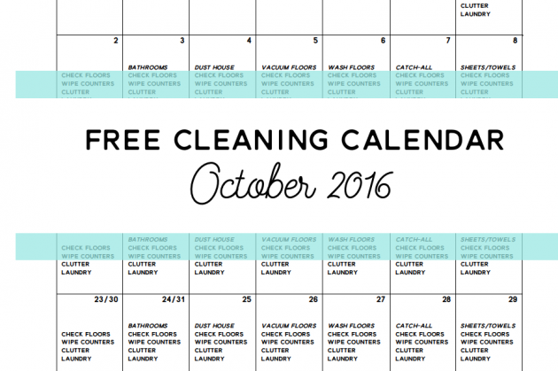 Come Clean – Free Cleaning Calendar for October 2016