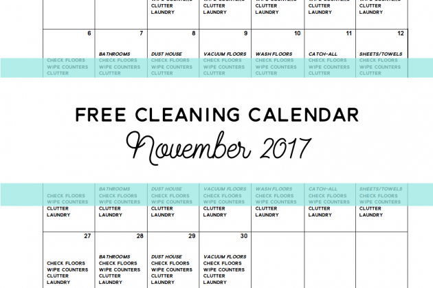 Come Clean – Free Cleaning Calendar for November 2016