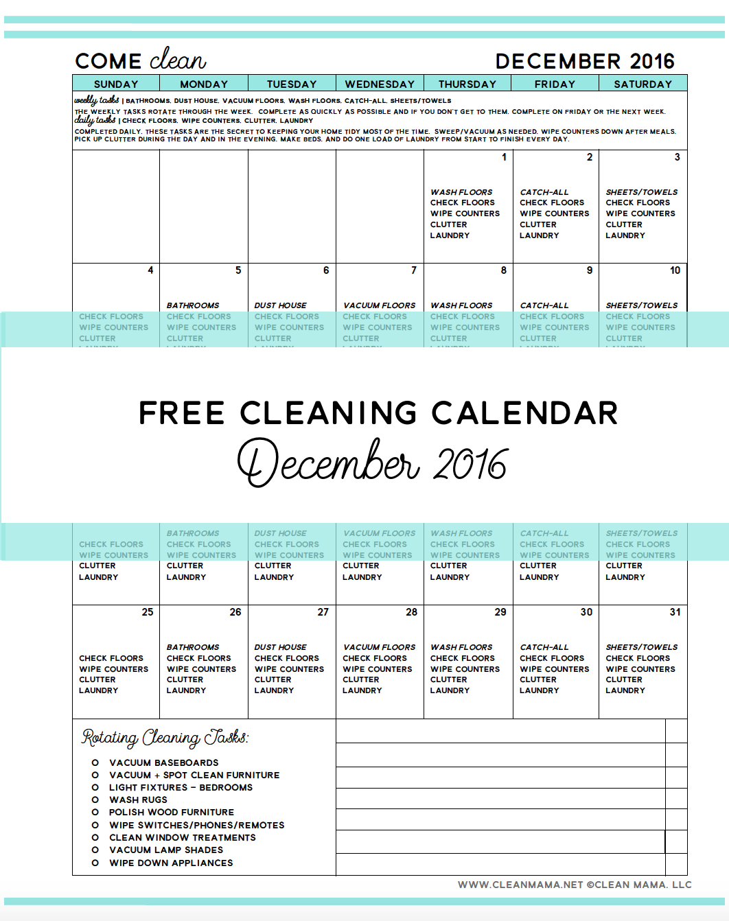 Come Clean – FREE Cleaning Calendar for December 2016