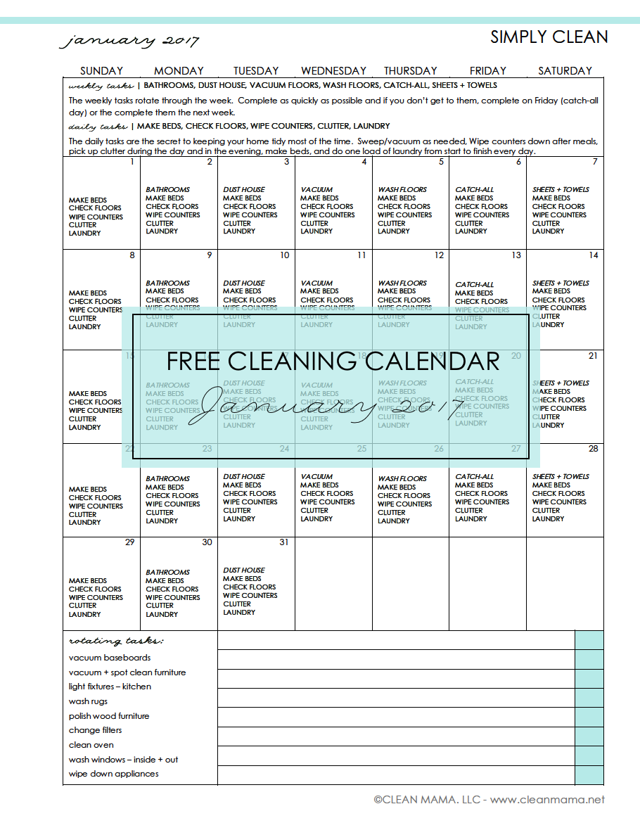 How To Keep My House Clean simply clean - free cleaning calendar for january 2017 - clean mama