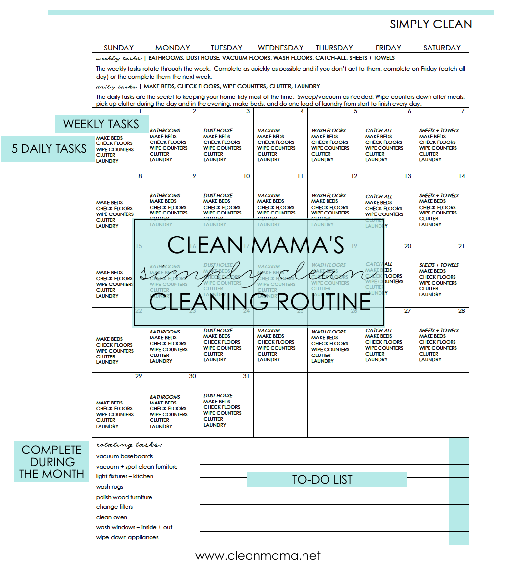 simply clean free cleaning calendar for october clean mama