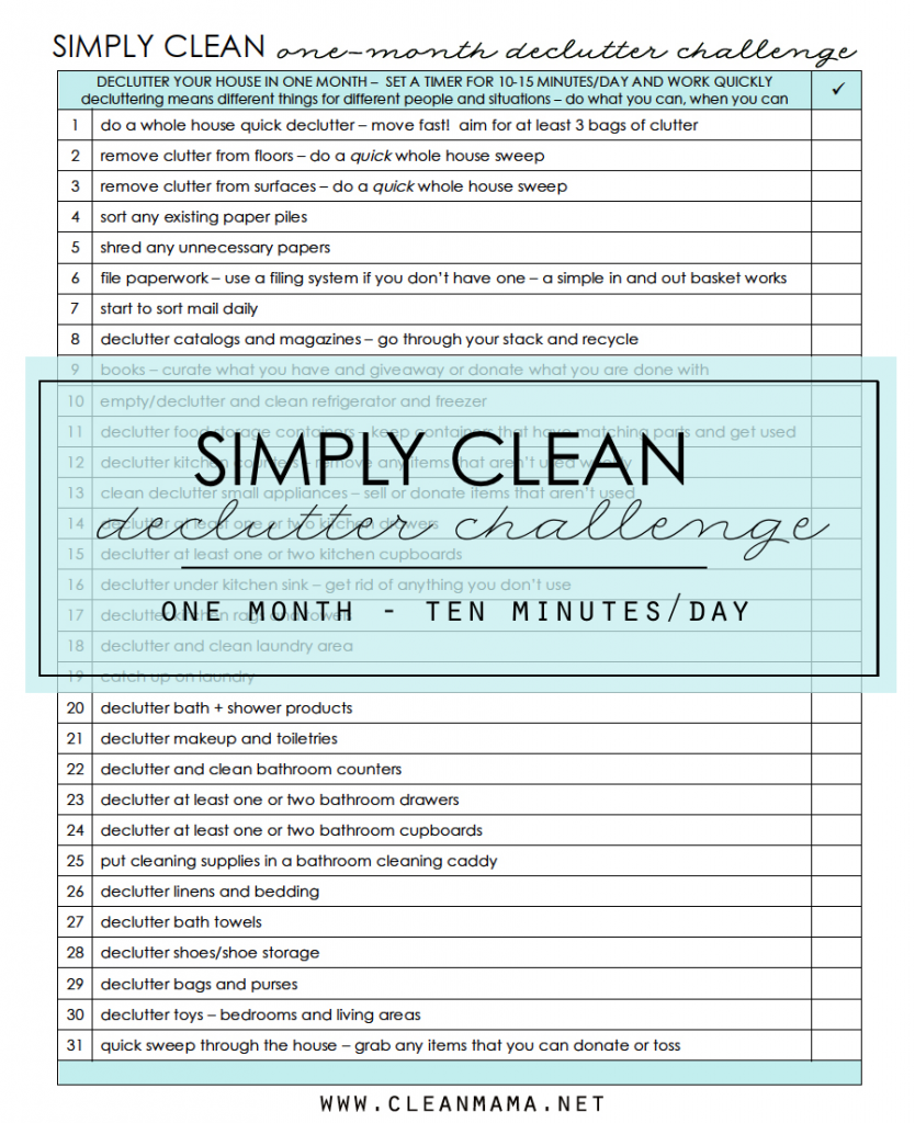Simply Clean - Declutter Challenge - Clean Mama