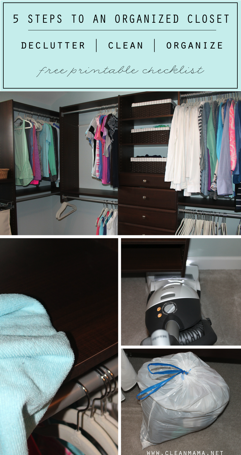 5 steps to an organized closet free printable clean mama for How to organize your closet for free