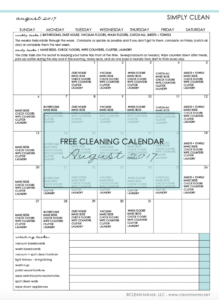Simply Clean – Free Cleaning Calendar for August