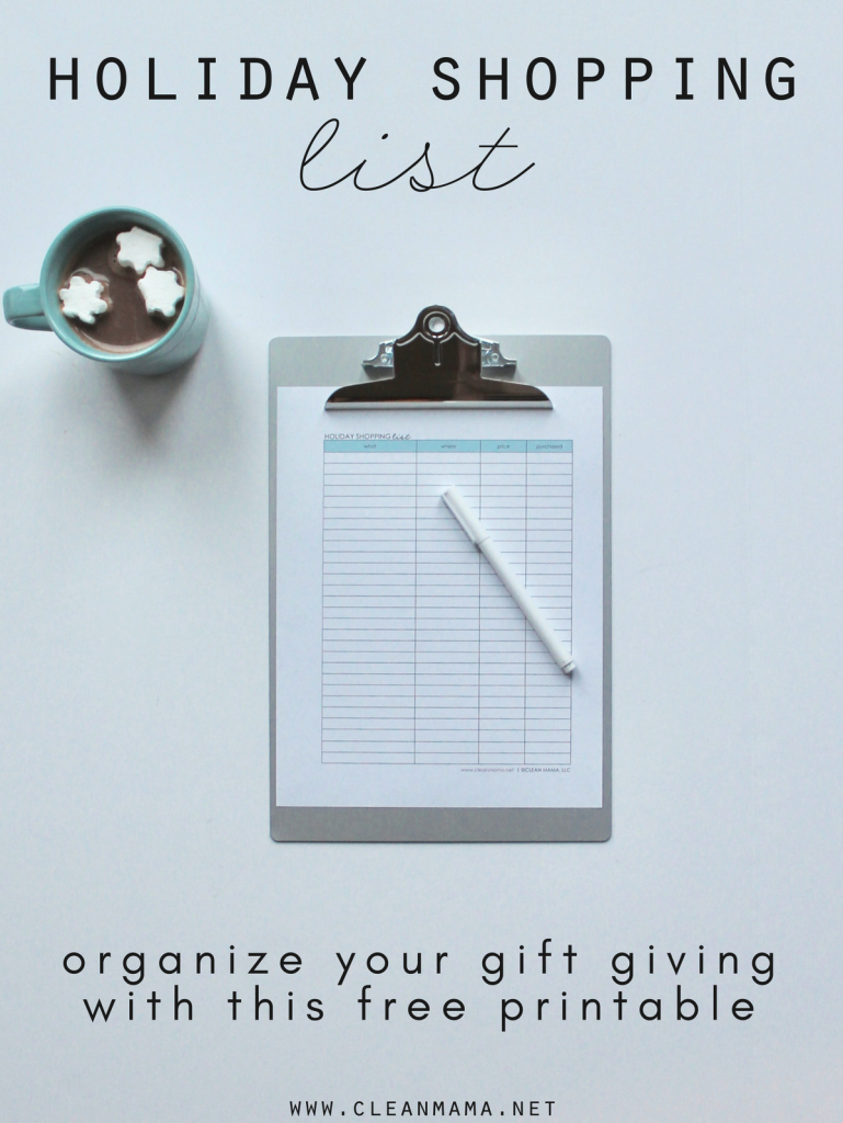 Free Printable : Holiday Shopping List