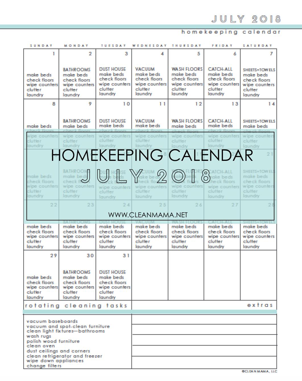 free homekeeping calendar july 2018 clean mama