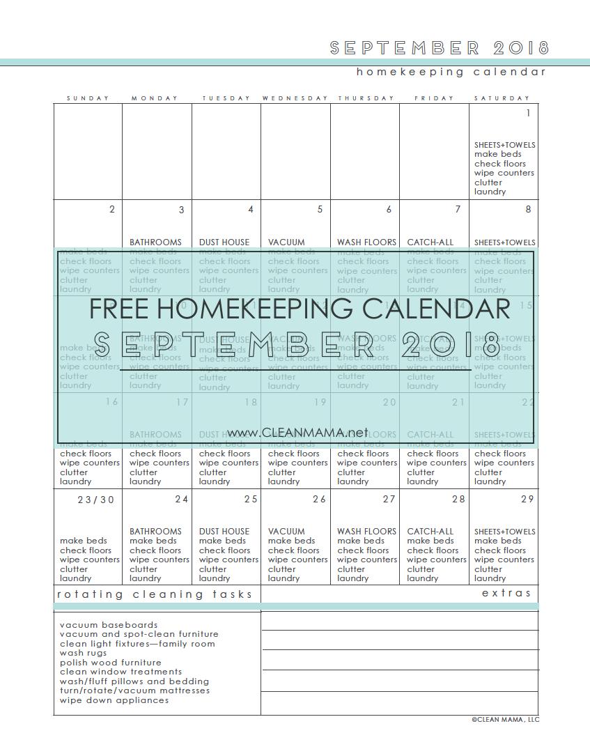 Free Homekeeping Calendar – September 2018 – Clean Mama