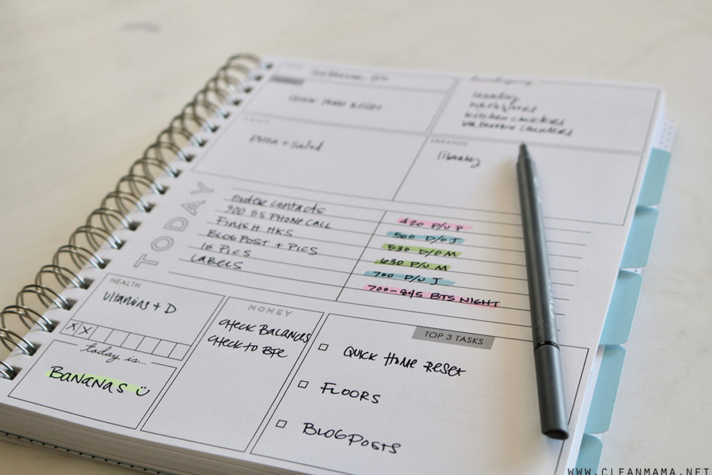 my daily planner clean mama