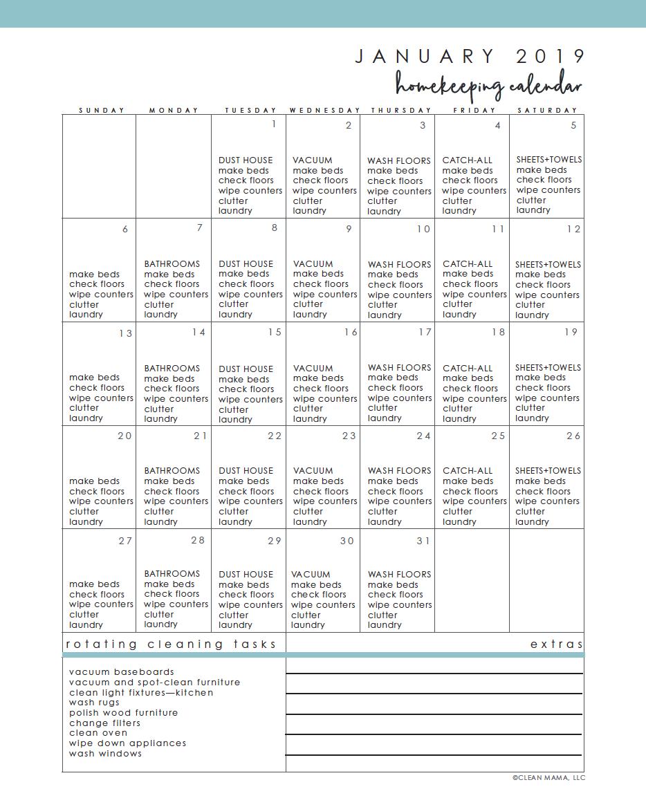January 2019 Declutter Calendar Free January 2019 Homekeeping Calendar   Clean Mama