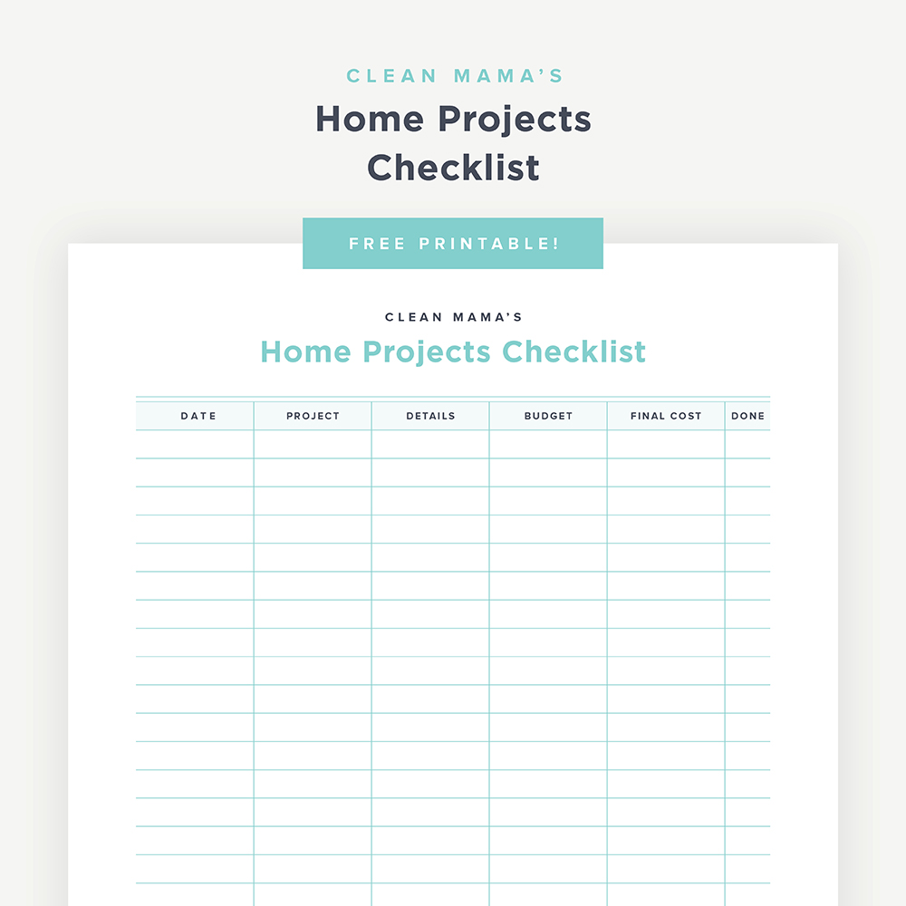 image relating to Printable Project named No cost Printable : House Initiatives Listing New Mama