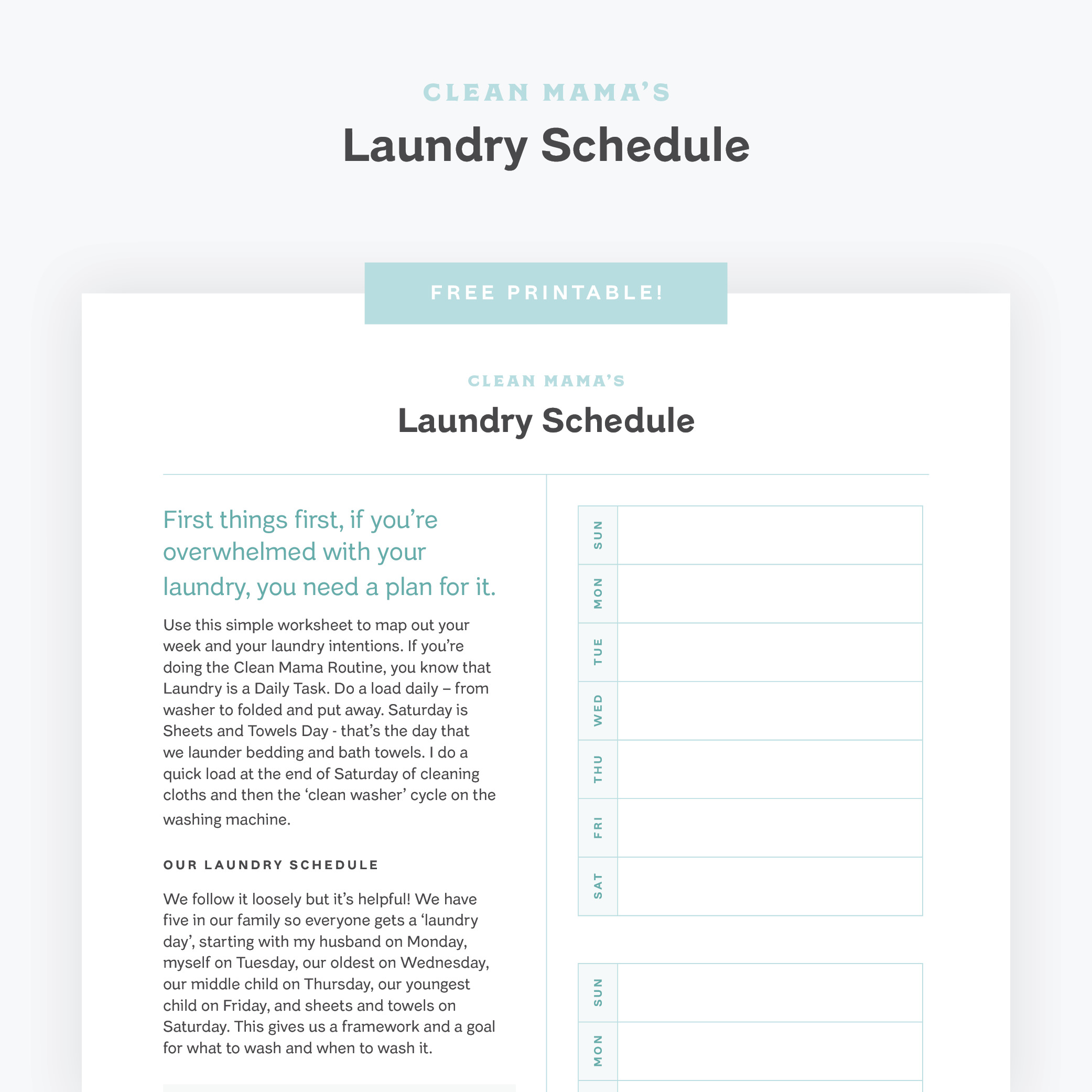 Laundry Schedule by Clean Mama